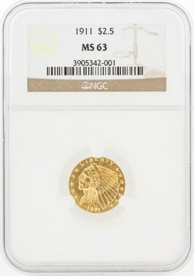 1911 Ngc Ms63 $2.50 Indian Head Quarter Eagle Gold Coin