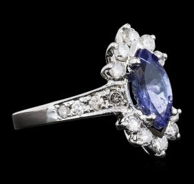 14kt White Gold 1.34ct Tanzanite And Diamond Ring
