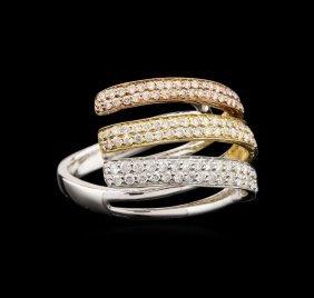 18kt Tri-color Gold 0.98ctw Diamond Ring