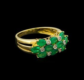 1.59ctw Emerald And Diamond Ring - 14kt Yellow Gold