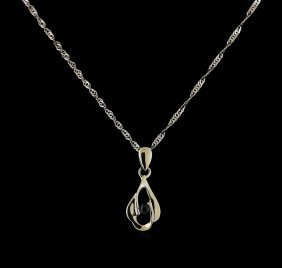 0.05ct Sapphire And Diamond Necklace - 18kt White Gold