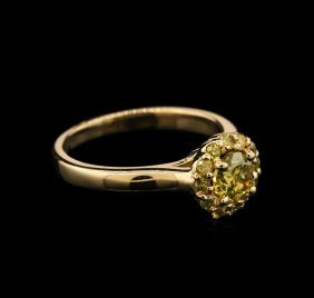 0.88ctw Yellow Diamond Ring - 14kt Yellow Gold