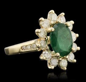 14kt Yellow Gold 2.44ct Emerald And Diamond Ring