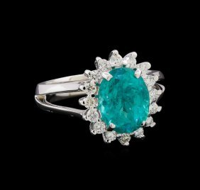 3.48ct Apatite And Diamond Ring - 14kt White Gold