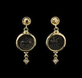 14kt Yellow Gold Roman Coin Circa 12 Bc-15 Ad Earrings