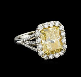 Egl Usa Cert 6.79ctw Vvs1 Fancy Yellow Diamond Ring -