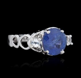 Silver 2.90ct Tanzanite And White Topaz Ring
