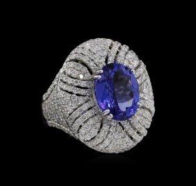 5.56ct Tanzanite And Diamond Ring - 18kt White Gold