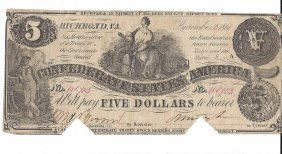 1861 $5 Confederate States Of America Bank Note