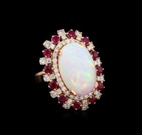 11.45ct Opal, Ruby And Diamond Ring - 14kt Rose Gold