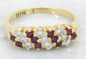0.20ctw Ruby And Diamond Ring - 18kt Yellow Gold