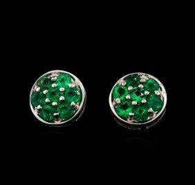 0.70ctw Emerald Earrings - 14kt White Gold