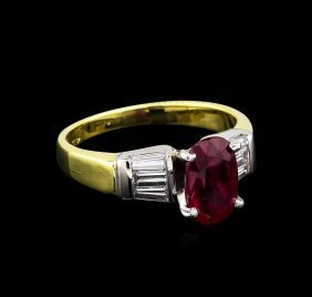 1.99ct Ruby And Diamond Ring - 18kt Two-tone Gold