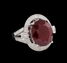 14kt White Gold 14.49ct Ruby And Diamond Ring