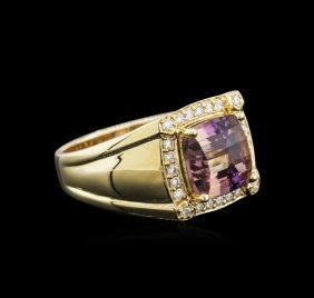 14kt Yellow Gold 4.51ct Ametrine And Diamond Ring