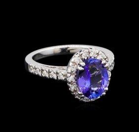2.23ct Tanzanite And Diamond Ring - 14kt White Gold