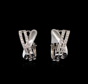 0.70ctw Diamond Earrings - 18kt White Gold