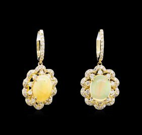 2.78ctw Opal And Diamond Earrings - 14kt Yellow Gold