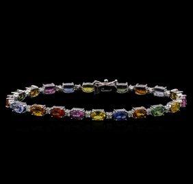 12.20ctw Multi-color Sapphire And Diamond Bracelet -