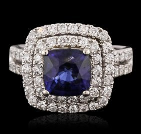 14kt White Gold 2.99ct Sapphire And Diamond Ring