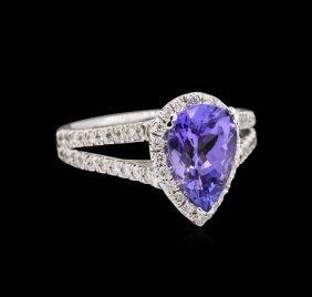 1.86ct Tanzanite And Diamond Ring - 14kt White Gold