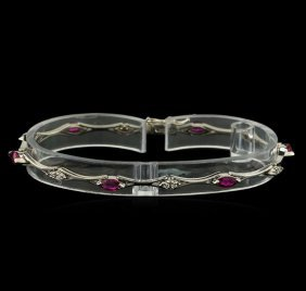 0.60ctw Ruby And Diamond Bracelet - 14kt White Gold