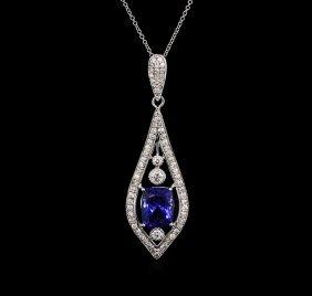 4.00ct Tanzanite And Diamond Pendant With Chain - 18kt
