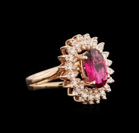 1.99ct Ruby And Diamond Ring - 14kt Rose Gold