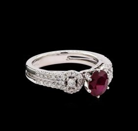 0.96ct Ruby And Diamond Ring - 18kt White Gold