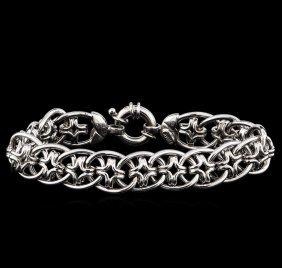 14kt White Gold Star Shape Link Design Bracelet