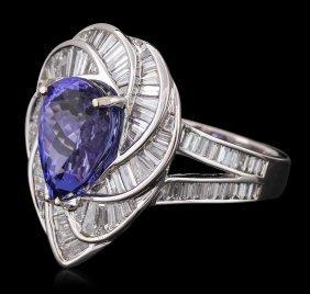 18kt White Gold 5.36ct Tanzanite And Diamond Ring