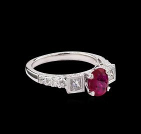 1.06ct Ruby And Diamond Ring - 18kt White Gold