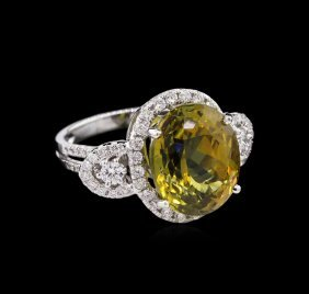 Gia Cert 10.91ct Alexandrite And Diamond Ring - 18kt