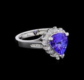 2.80ct Tanzanite And Diamond Ring - 14kt White Gold