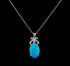 4.78ct Turquoise And Diamond Pendant With Chain - 14kt