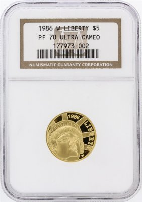 1986 Ngc Pf70 Ultra Cameo $5 Liberty Gold Coin