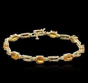 14kt Yellow Gold 6.56ctw Yellow Sapphire And Diamond
