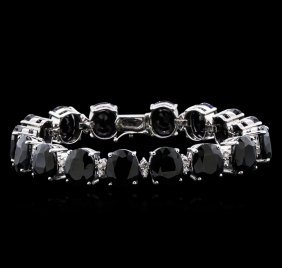 77.74ctw Blue Sapphire And Diamond Bracelet - 14kt