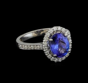 2.27ct Tanzanite And Diamond Ring - 14kt White Gold