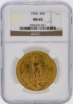 1924 Ngc Ms65 $20 St Gaudens Double Eagle Gold Coin