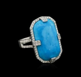 14kt White Gold Turquoise And Diamond Ring