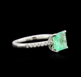 1.83ct Emerald And Diamond Ring - 14kt White Gold