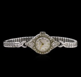 Elgin Platinum And Stainless Steel Diamond Ladies
