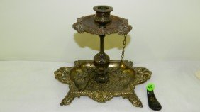 Vintage Victorian Style Bronze / Brass Single Cand
