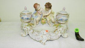 VICTORIAN Porcelain Putti Cherub W 2 Inkwell Dresd