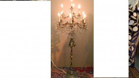 Nice Brass Floor Chandelier / Light With Putti SSR