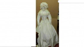 Victorian Era White Fringe Day Dress Bustle Hoop S