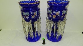 Pair Antique  Victorian Blue Glass Hand Painted Ma