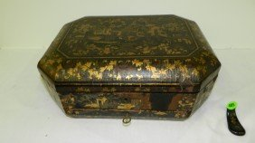 Antique Chinese Lacquer Fitted Sewing Box With Gol