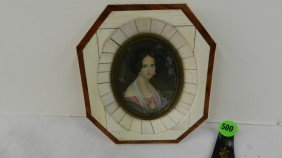 Small Framed Antique Portrait Painting On Ivory In